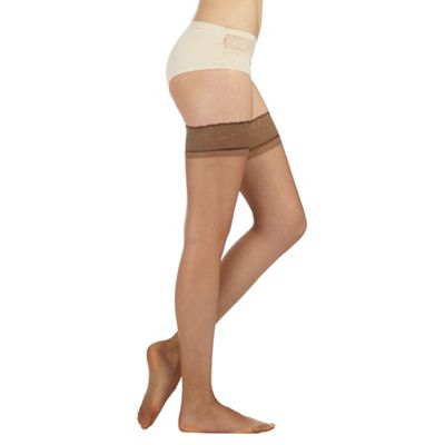 Aristoc Beige ultra shine 10d sheer hold ups - M/L. -