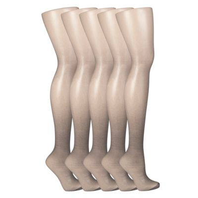 Pack of five metallic 15D sheer tights