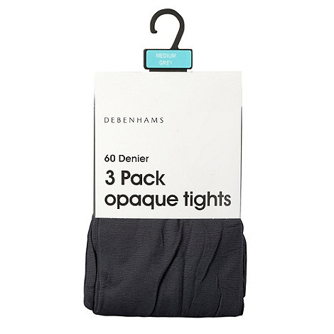 Debenhams - Pack of three grey 60D opaque tights