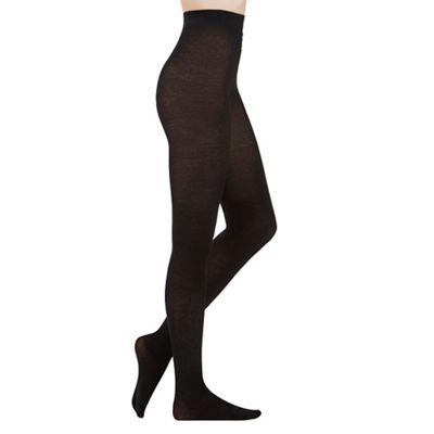 Aristoc Black 100 denier cashmere blend tights - L/XL. -