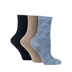 Debenhams - Pack of three navy soft touch ankle socks
