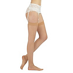 Debenhams - Pack of three nude 10 Denier matte look everyday stockings