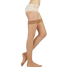 Debenhams - Pack of two light tan 10 Denier matte look hold ups
