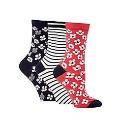 Debenhams - Pack of three navy striped and floral ankle socks