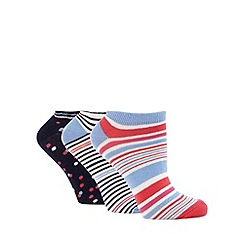 Debenhams - Pack of three navy spotted cotton blend trainer socks