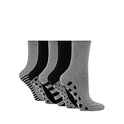 Debenhams - Pack of five black striped and spotted ankle socks