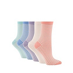 Debenhams - Pack of five pastel striped ankle socks