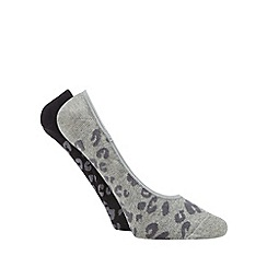 Debenhams - Pack of two grey animal print footsies