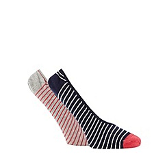 Debenhams - Pack of two navy and grey striped footsies