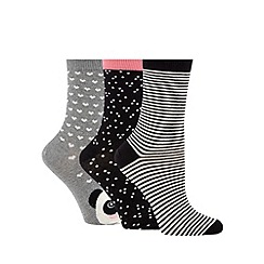 Debenhams - Pack of three black and grey spot, stripe and heart printed socks