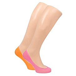 Pretty Polly - Pack of two bright orange footsies