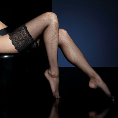 Micronet lace top hold ups