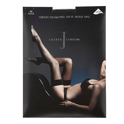 J by Jasper Conran - Black sheer sheen diamond spot hold ups