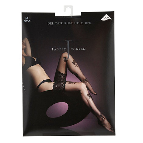 J by Jasper Conran - Black sheer delicate rose hold ups