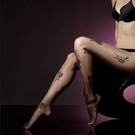 J by Jasper Conran - Black sheer delicate rose tights