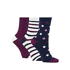 Debenhams - Pack of three assorted plain, striped and spotted socks