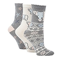 Debenhams - Pack of three grey polar bear socks