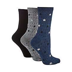 Debenhams - Pack of three assorted star print socks