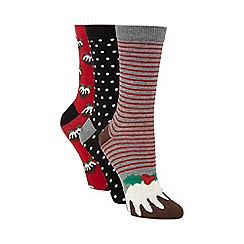 Debenhams - Pack of three grey Christmas pudding socks