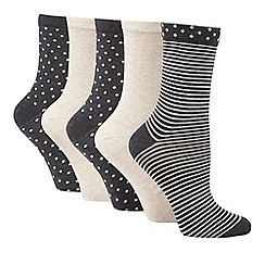 Debenhams - Pack of three grey glitter socks