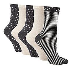 Debenhams - Pack of three grey glitter socks