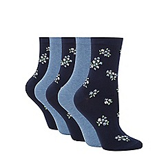 Debenhams - Pack of five light blue and navy floral socks