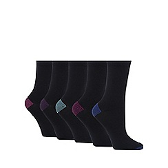 Debenhams - Pack of five black ankle high socks