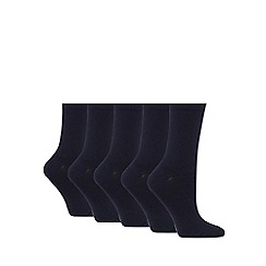 Debenhams - Pack of five navy cotton rich socks