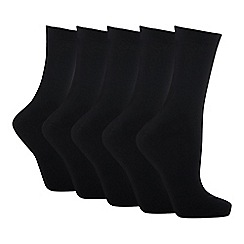 Debenhams - Pack of five black cotton rich socks