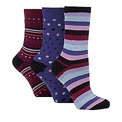 Jennifer Anderton - Pack of three purple thermal socks