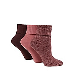 Jennifer Anderton - Pack of three dark pink turnover socks