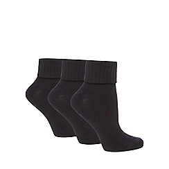 Jennifer Anderton - Pack of three black turnover socks
