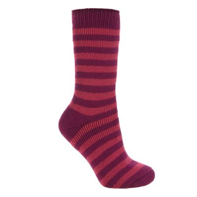 Dark pink stripe thermal socks