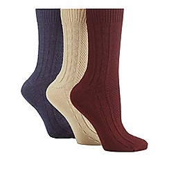 The Collection - Pack of 3 multi-coloured thermal ankle socks