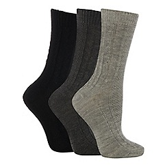 Debenhams - Pack of three black and grey thermal socks