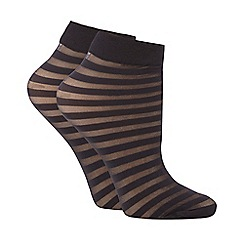 J by Jasper Conran - Pack of two black sheer striped socks