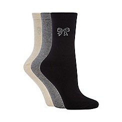 Debenhams - Pack of three assorted diamante bow socks