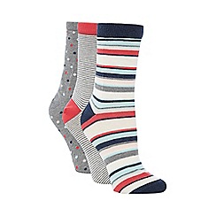 Debenhams - Pack of three grey striped and spotted socks