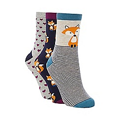 Debenhams - Pack of three grey and navy fox printed socks