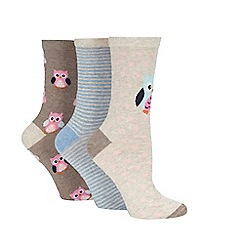 Debenhams - Pack of three blue and grey owl and striped ankle socks