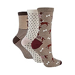 Debenhams - Pack of three assorted dog print ankle socks