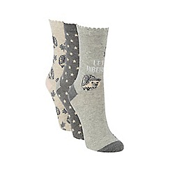 Debenhams - Pack of three beige hedgehog socks
