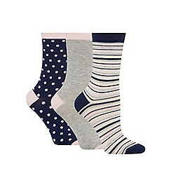 The Collection - Pack of three spotted bamboo ankle high socks