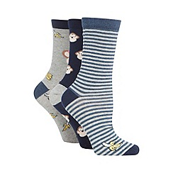 The Collection - Pack of three navy 'geeky monkey' socks