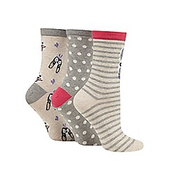The Collection - Pack of three grey and beige striped, polka dot and dog socks