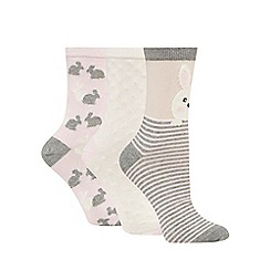 The Collection - Pack of three ivory bunny ankle socks