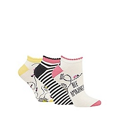The Collection - Pack of three ivory 'Bee amazing' trainer socks