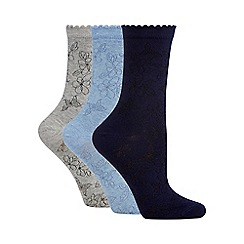 The Collection - Pack of three assorted floral ankle socks