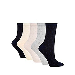 The Collection - Pack of five assorted textured ankle socks