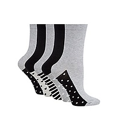 The Collection - Pack of five grey and black patterned socks